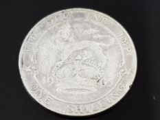 EDWARD VII (1901-10) SHILLING COIN 1905 EDGE MILLED VERY SCARCE DATE WITH LOW MINTAGE