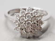 SILVER 3 ROW CZ CLUSTER RING