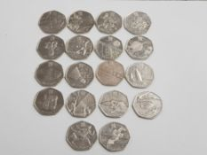 18 OLYMPIC 50P COINS ALL IN NICE CONDITION