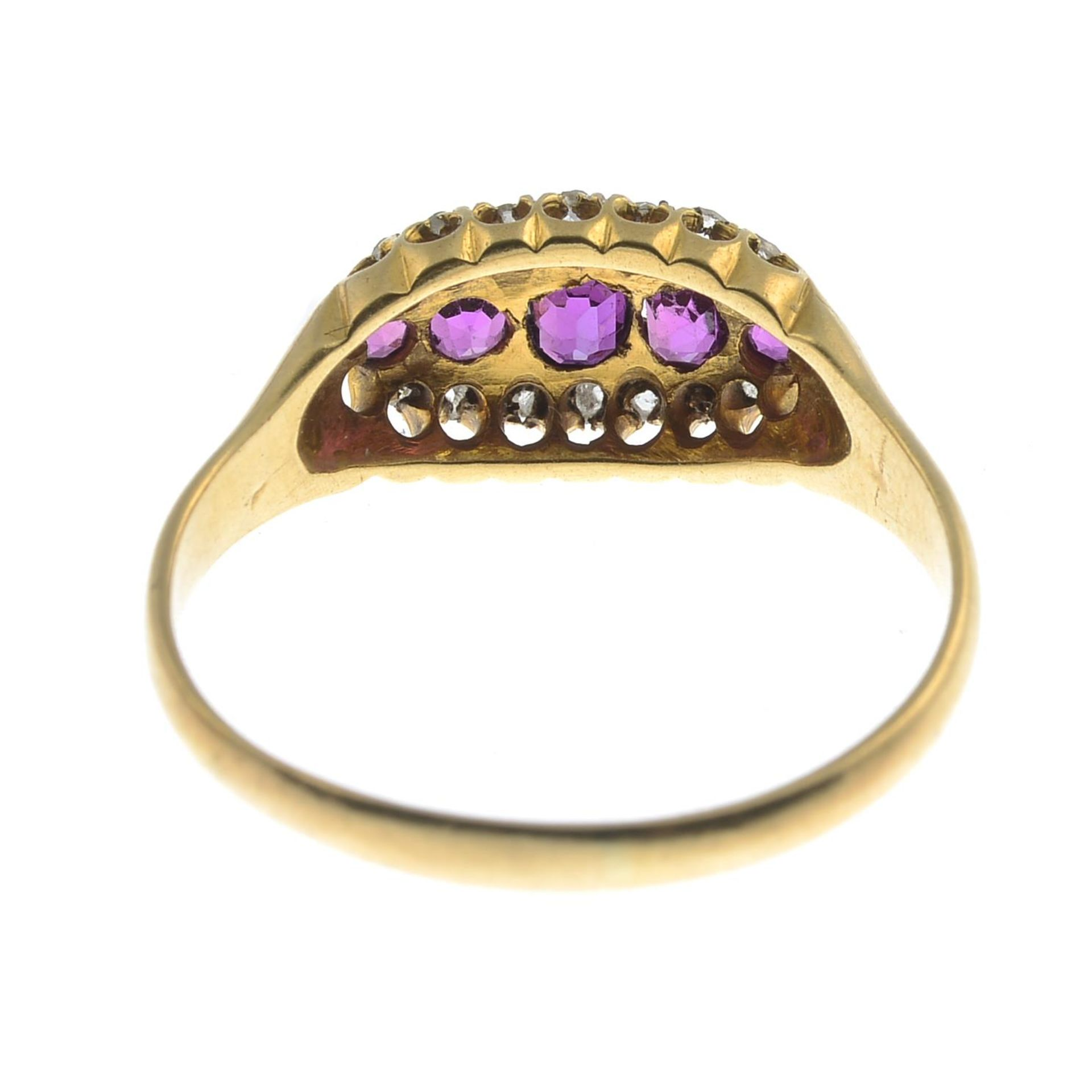 An early 20th century 18ct gold ruby and diamond ring.Hallmarks for Birmingham.Ring size U1/2. - Bild 2 aus 2