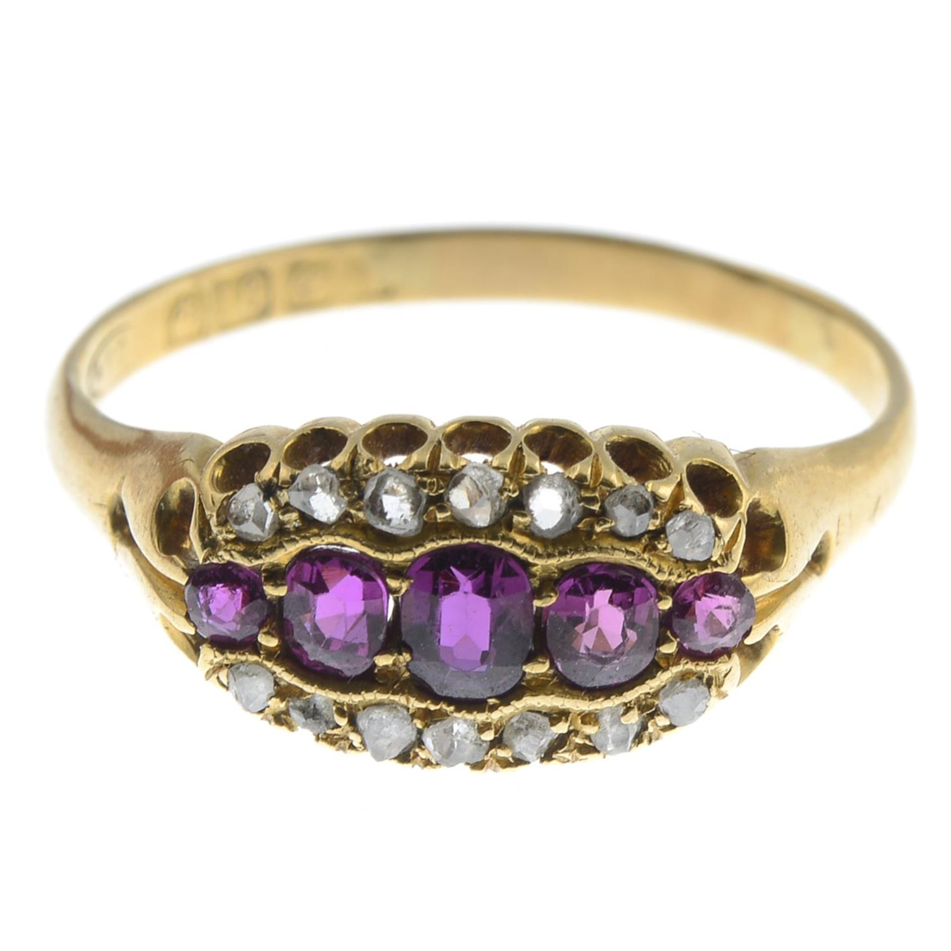 An early 20th century 18ct gold ruby and diamond ring.Hallmarks for Birmingham.Ring size U1/2.