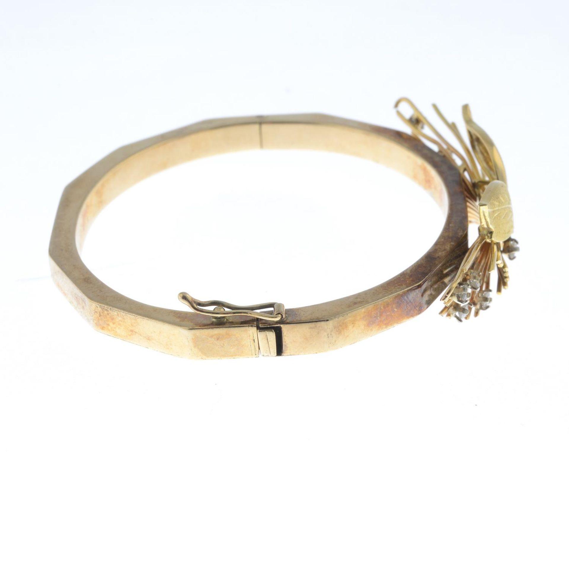 A 9ct gold diamond bi-colour bangle, - Bild 3 aus 3
