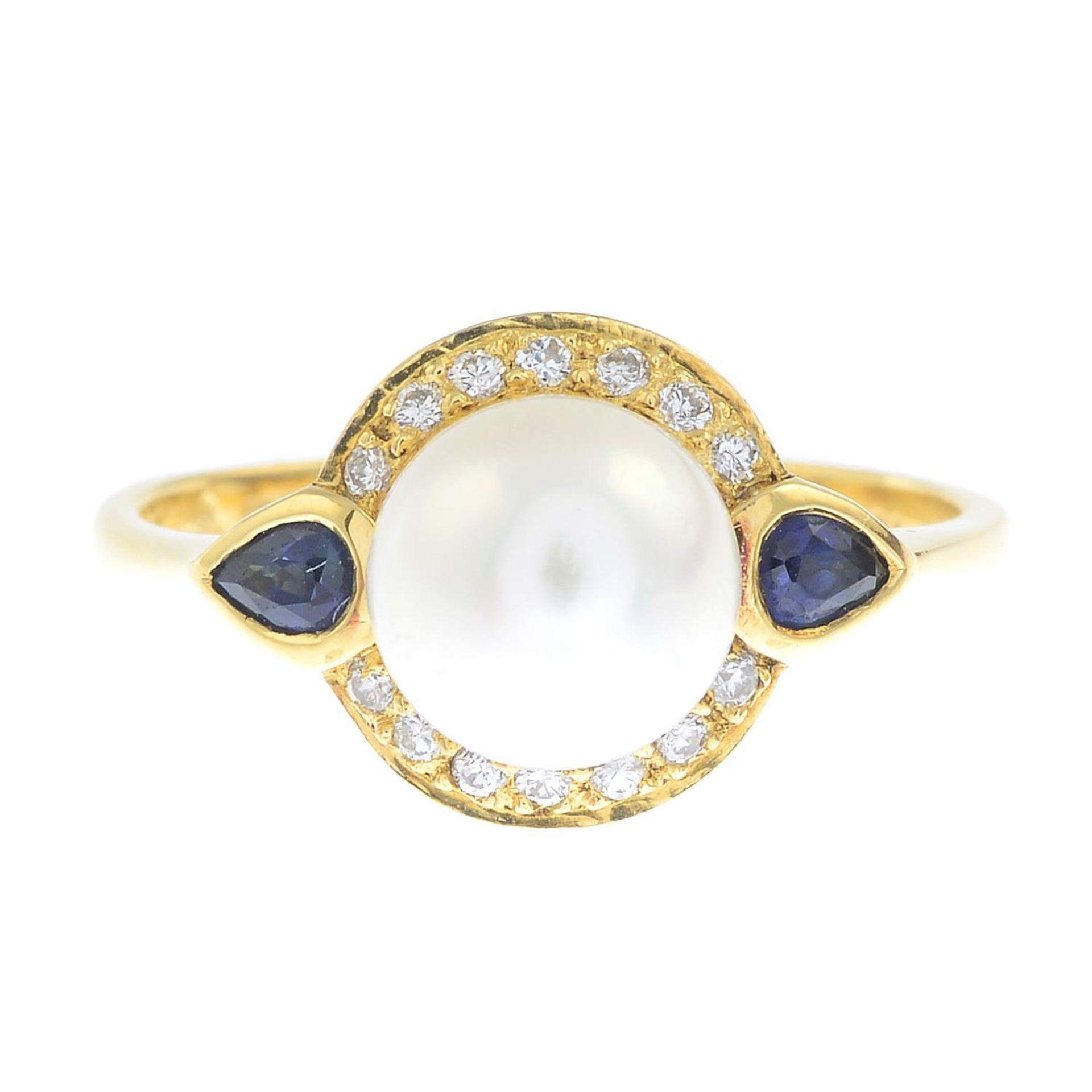 An 18ct gold cultured pearl,