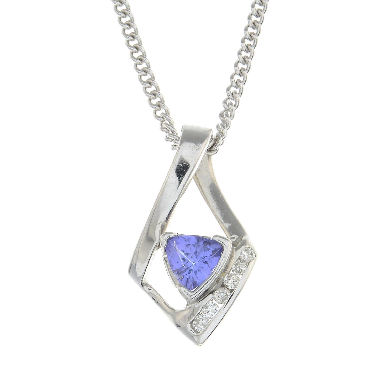 A tanzanite and diamond pendant,