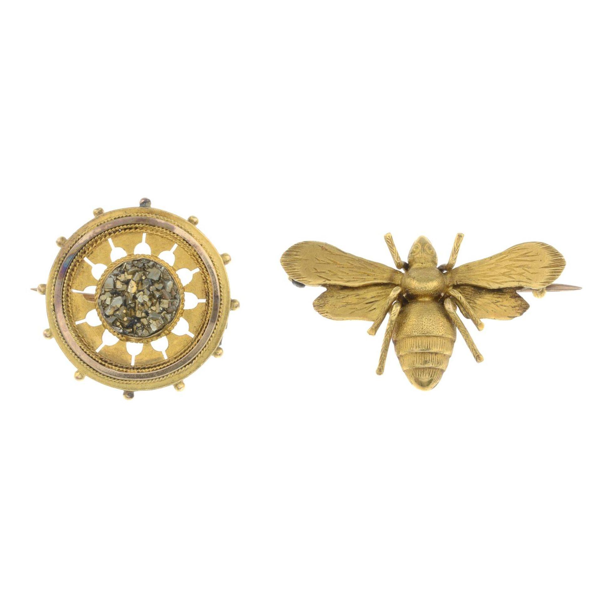Edwardian gold pyrite circular brooch,