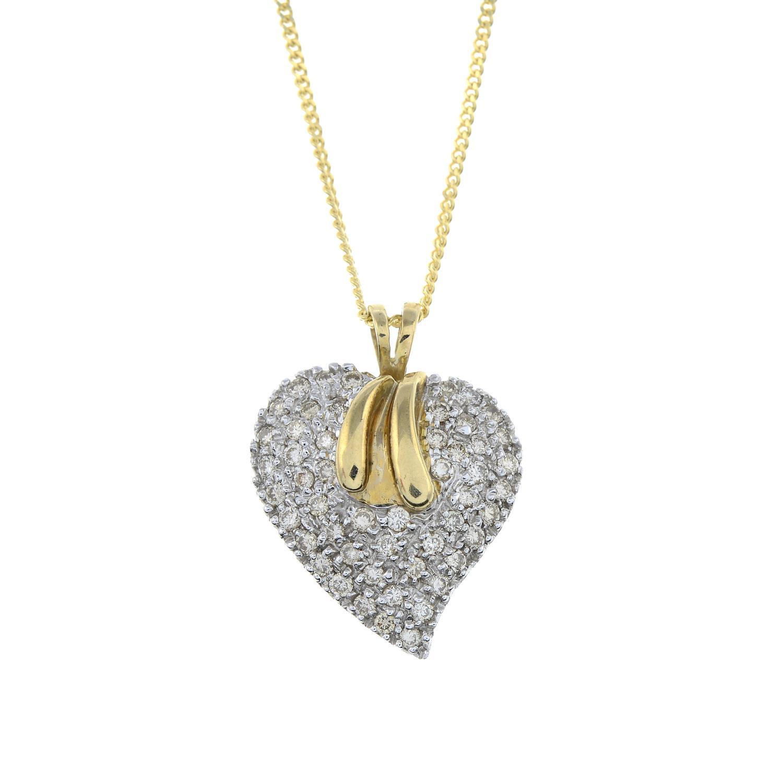 A 9ct gold brilliant-cut diamond heart pendant, with 9ct gold chain.