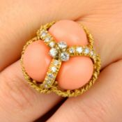 A 1970s coral and diamond dress ring,
