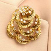 A 1970s 18ct gold diamond brooch, by Kutchinsky.
