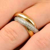 A pavé-set diamond 'Trilogy' ring, by Cartier.