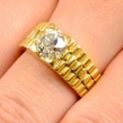 An old-cut diamond single-stone ring,