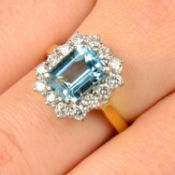 An aquamarine and brilliant-cut diamond cluster ring.Aquamarine calculated weight 2.22cts,