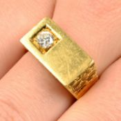 A 1960s 18ct gold brilliant-cut diamond textured signet ring,