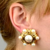 A pair of mabé pearl and cultured pearl earrings.Italian marks, stamped 18Kt.