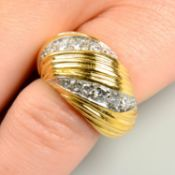 A 1970s 18ct gold brilliant-cut diamond grooved and tapered bombe ring,
