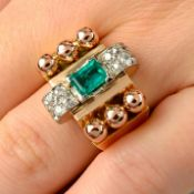 A 1940s 18ct gold and platinum, emerald and diamond dress ring.
