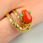 A mid 20th century coral and turquoise snake ring, by Cartier.Stamped 750.
