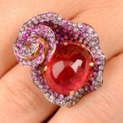 An 18ct gold pink tourmaline and vari-hue sapphire floral dress ring.