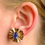 A pair of mid 20th century 14ct gold sapphire earrings.