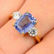 A Sri Lankan sapphire and brilliant-cut diamond three-stone ring.Verbal from The Gem & Pearl