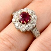 A Thai ruby and old-cut diamond cluster ring.