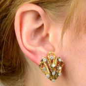 A pair of 1970s 18ct gold brilliant-cut diamond textured earrings,