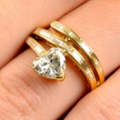 A 1970s 18ct gold stylised snake ring,