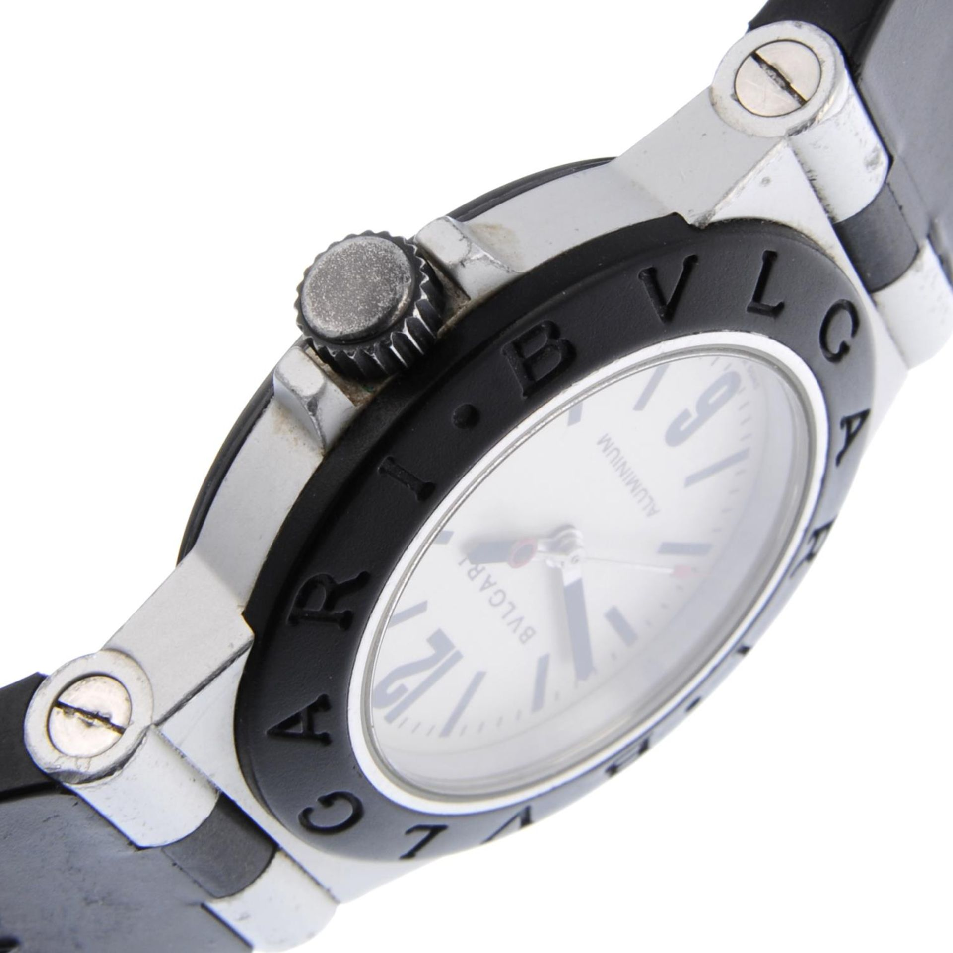 Los 10 - BULGARI - a mid-size Diagono Aluminium wrist watch.