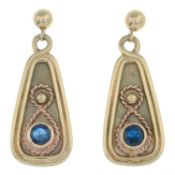 A pair of 9ct gold blue gem diamond drop earrings.Hallmarks for Sheffield.Length 2.8cms.
