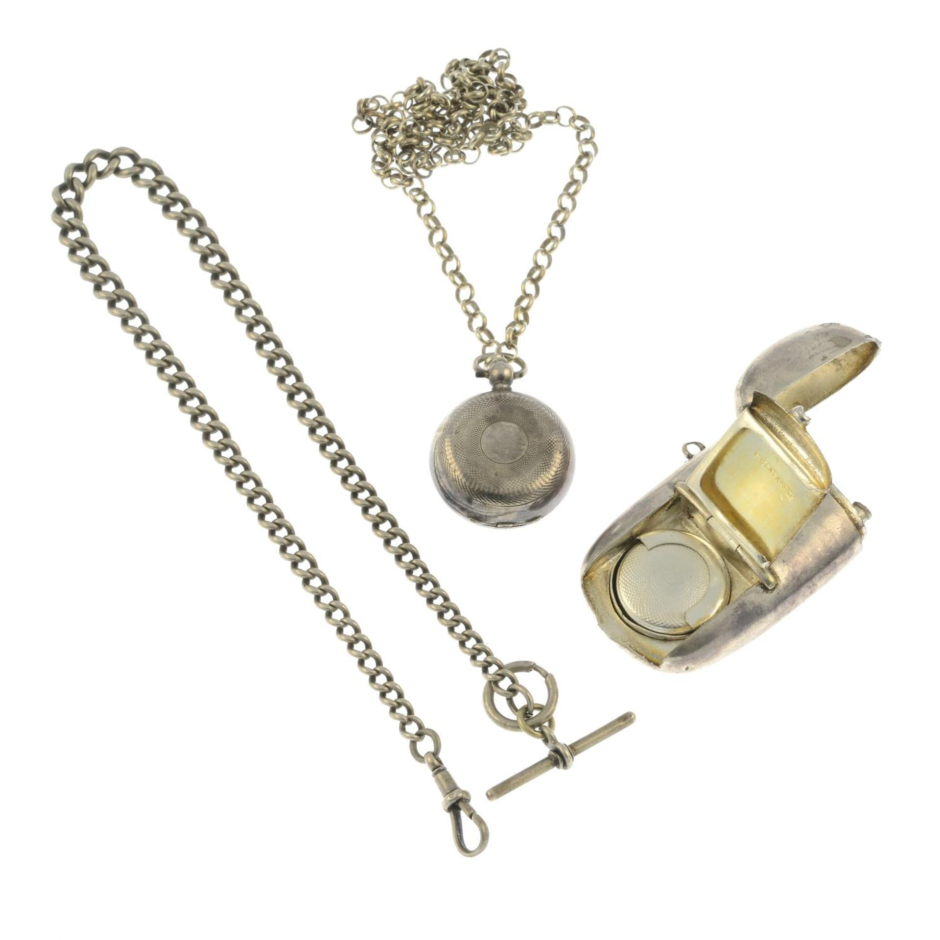 An Edwardian silver sovereign case with chain, - Image 2 of 2