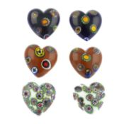 One-hundred-and-twenty vintage milliefiori glass hearts and cabochons.