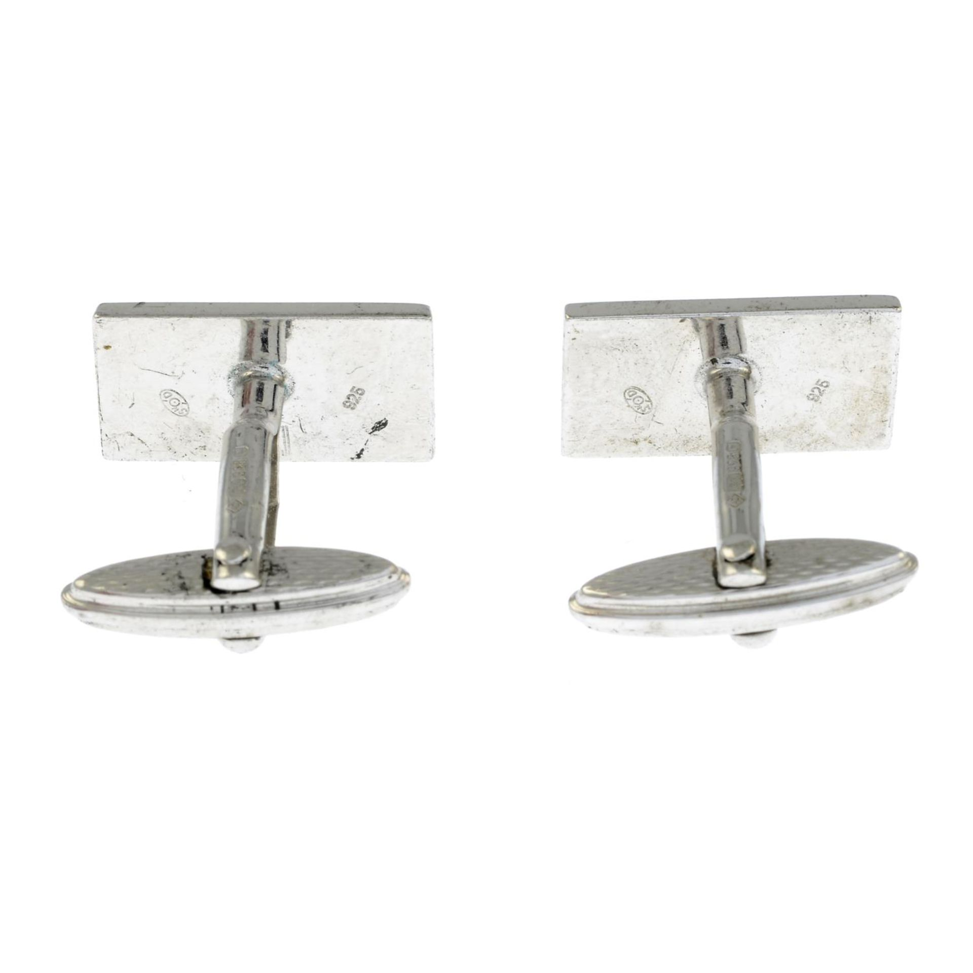 A pair of silver Dunhill enamel cufflinksHallmarks for London, AD makers mark. - Image 2 of 2