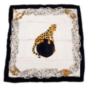 CARTIER - a Must De Cartier Le Panthere Royal silk scarf.