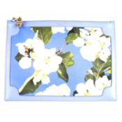 ASPINAL OF LONDON - a Misty Blue Blossom Soho clutch.