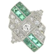 An Art Deco 18ct gold emerald and brilliant-cut diamond dress ring.Estimated total diamond weight