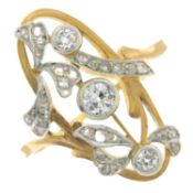 An Art Nouveau 18ct gold old and rose-cut diamond dress ring.Estimated old-cut diamond weight
