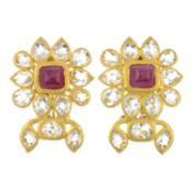 A pair of 22ct gold rock crystal and pink gem cluster earrings.Hallmarks for London.Length 3.5cms.