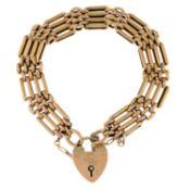 An Edwardian 9ct gold fancy-link bracelet,