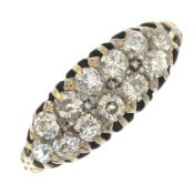 A late 19th century 18ct gold old-cut diamond two-row ring.Estimated total diamond weight 0.70ct.