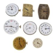 A group of eight watch movements, to include examples by Zenith and Longines.