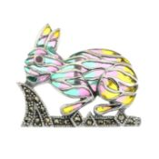 A ruby, pyrite and plique-a-jour enamel brooch,