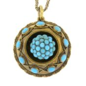 A late 19th century turquoise memorial pendant, with chain.Length of pendant 3.4cms.