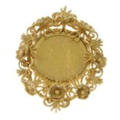 A 9ct gold full sovereign pendant.Sovereign dated 1892.