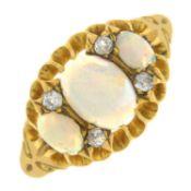 An Edwardian 18ct gold opal and diamond ring.Hallmarks for Birmingham, 1904.