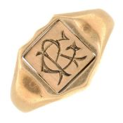 A Masonic enamel swivel signet ring,