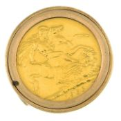 A full sovereign ring, within a 9ct gold mount.Full sovereign dated 1966.