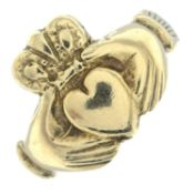 A 9ct gold claddagh ring.Hallmarks for 9ct gold.