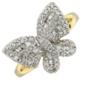 A 9ct gold diamond butterfly dress ring.Estimated total diamond weight 0.40ct.