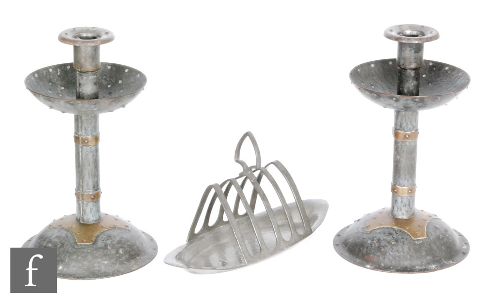 Lot 3 - Attributed to Hugo Berger (Goberg) - A pair of early 20th Century Secessionist iron and brass
