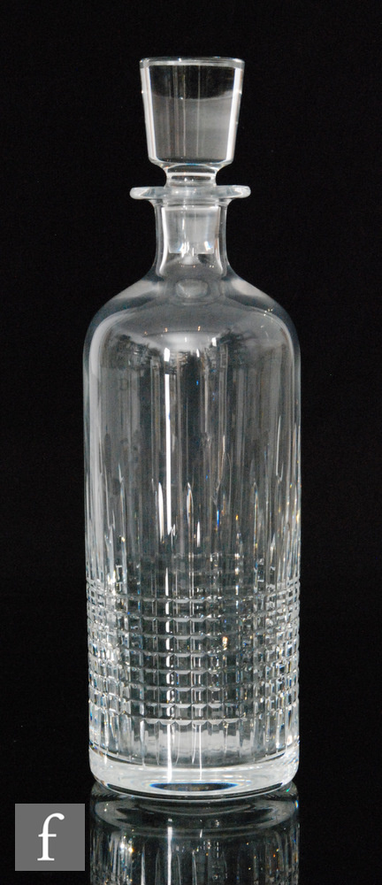 A modern Baccarat clear crystal decanter in the Nancy pattern, of cylindrical shouldered form with