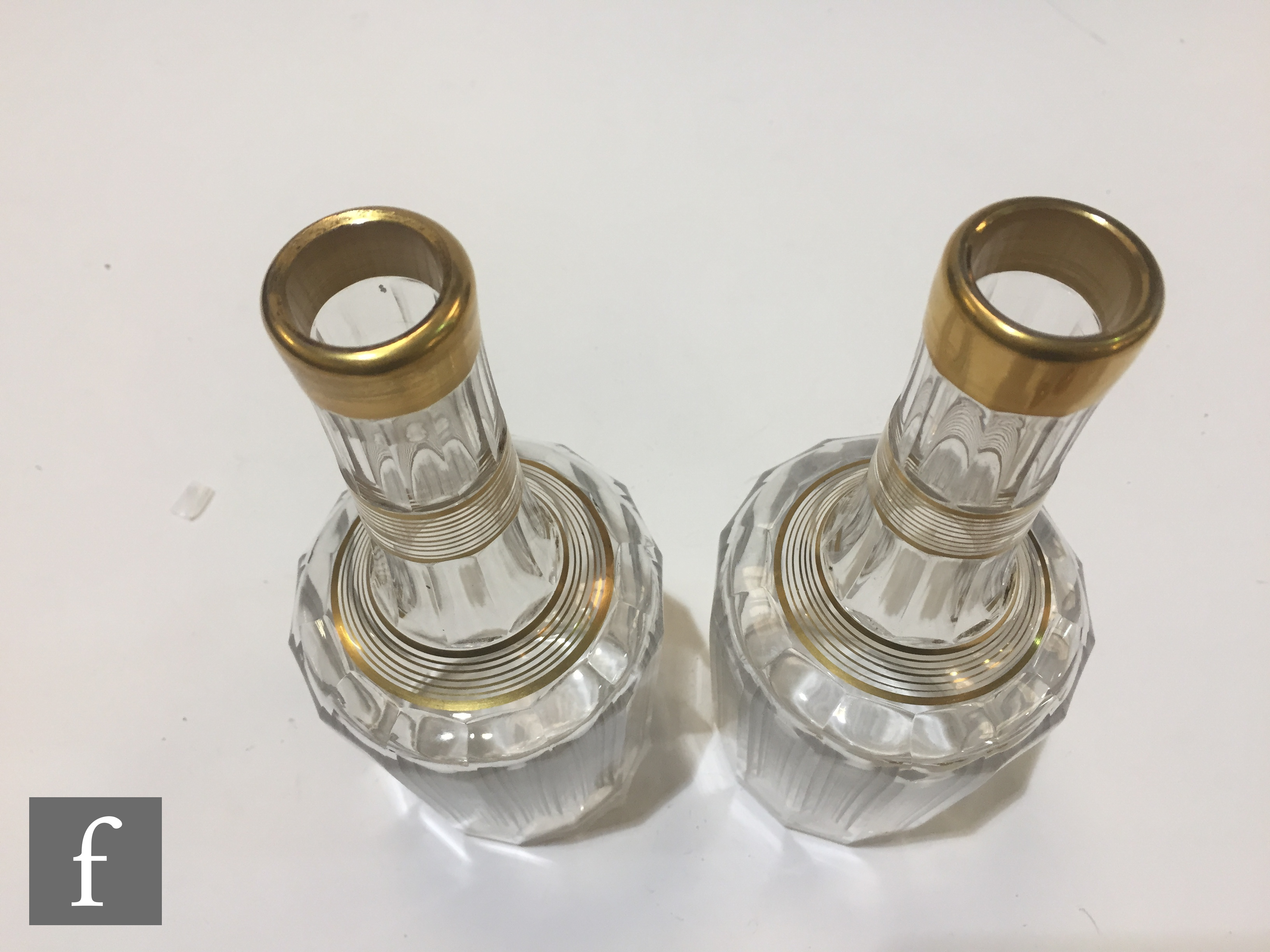 A pair of late 19th Century Baccarat crystal spirit decanters of slice cut shouldered form with a - Image 6 of 6